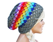 Rainbow Slouch Beanie Granny Stitch Beanie Hat