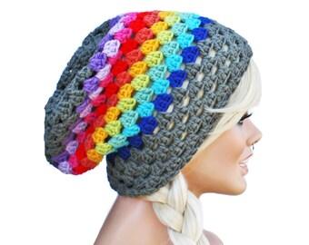 Crochet Slouch Rainbow Beanie - Granny Stitch Beanie Hat