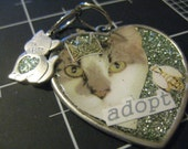 100% Charity Donation: Adopt a Cat Pendant with Glitterhearted Kitten Charm, All proceeds go to the current selected animal charity