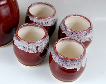 Stemless Wine Glass or Juice Cup in Red Agate - Made to Order