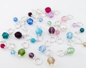 Birthstone Charm 4mm - Sterling Silver & Crystal Birthstone Charm, Small Size