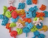 30 pcs of Novelty Button - By The Sea - Lime Green Blue Teal Orange Beige