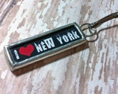 Soldered Art charm Soldered Glass Zipper Pull Purse Charm I Love New York Pendant