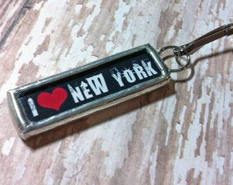 Soldered Art charm Soldered Glass Zipper Pull Purse Charm I Love New York Pendant