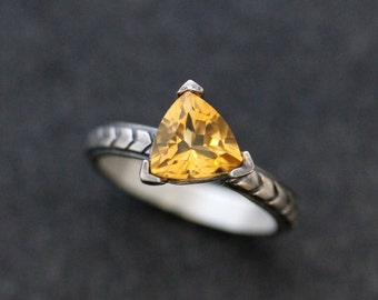 Citrine Gemstone Ring in Sterling Silver, Chevron Triangle Texture in Recycled Silver