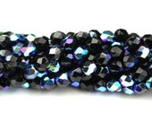 Czech Glass Beads Fire Polished Faceted Rounds 3mm Jet AB (50) CZF668
