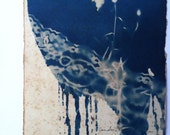 Cyan and Lace, Cyanotype Print on Watercolor Paper, Tea Stained