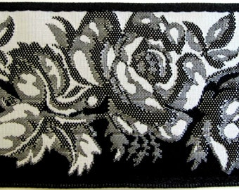 3 yards BLACK and WHITE ROSES Jacquard trim. Reversible trim. 1 3/4 inch wide.  962-a
