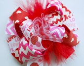 boutique MINI MOD pink and red CHEVRON valentine hair bow clip