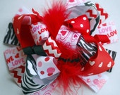 boutique FUNKY fun RED and zebra VALENTINE hair bow clip
