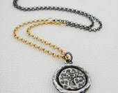 "Diamond Pendant Necklace, Tree of Life Oxidized Sterling Silver 18"" 14kt Gold Filled, Genuine Diamonds, Pave Antiqued"