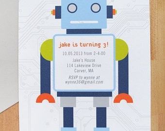 Robot Invitations, birthday party, DIGITAL FILE