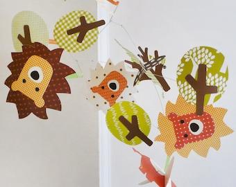 Safari Mobile, elephant mobile, modern baby mobile, nursery decor, baby room, custom baby mobile, paper mobile, graphic mobile, nursery art