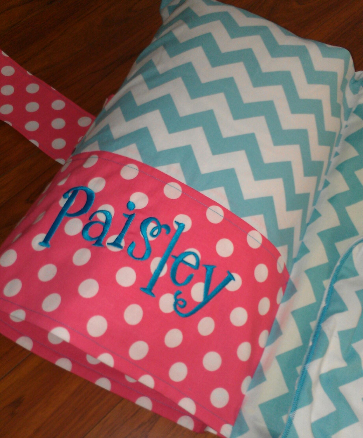 Aqua Chevron Monogrammed Nap Mat Cover With By