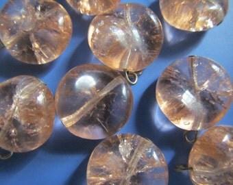 Vintage Glass Beads (2) Peach Crackle Dangle Beads