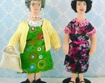 Carol Burnett and Vicki Lawrence as Thelma and Eunice Art Doll Miniatures Comedy