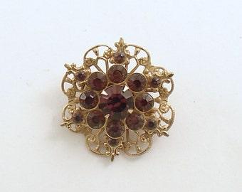Vintage Brooch Purple Rhinestones Costume Jewelry