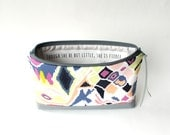 Makeup Bag with Quote, Though She Be But Little She Is Fierce, Southwestern Print Zipper Clutch, Gift For Her