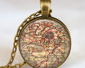 Paris map necklace, Paris map pendant, Paris france map jewelry , map pendant jewelry  with gift bag