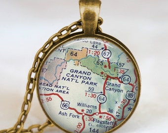 Grand canyon map necklace, Grand canyon map pendant, Grand canyon map jewelry , map pendant jewelry  with gift bag