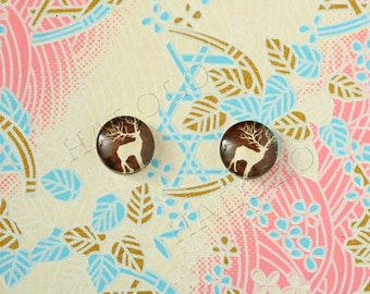 Sale - 10pcs handmade deer on brown background round clear glass dome cabochons 12mm (12-9430)