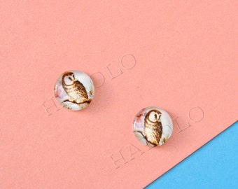 Sale - 10pcs handmade owl round clear glass dome cabochons 12mm (12-0044)