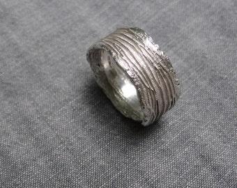 Cactus bark ring - silver