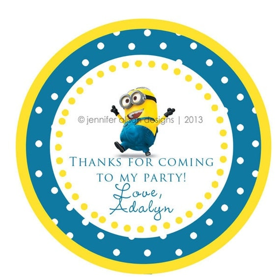 Despicable Me Minion STICKERS / Cupcake Toppers / Thank You Tags / various sizes