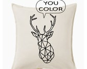 Geometric deer pillow DIY kit - throw pillow cover - you color