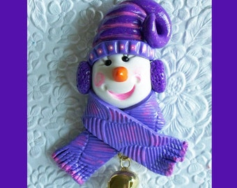 Christmas snowman Magnet Purple and Lavender