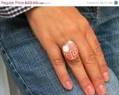 Adjustable Antique Finish Oval Retro Ring in Candy Colors