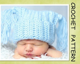 PDF Crochet Pattern - Ribbed Jester Hat - 4 sizes - Newborn to 3 yrs old.