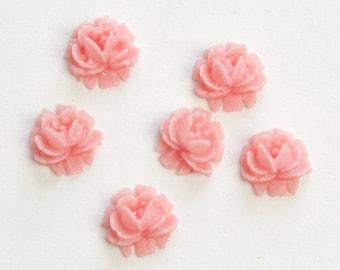 Vintage Style Pink Etched Plastic Flower Cabochon 6.5mm (8) cab567D