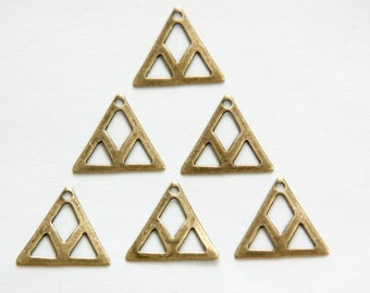 1 Hole Brass Ox Cut Out Design Triangle Charm Drops (6) mtl214C