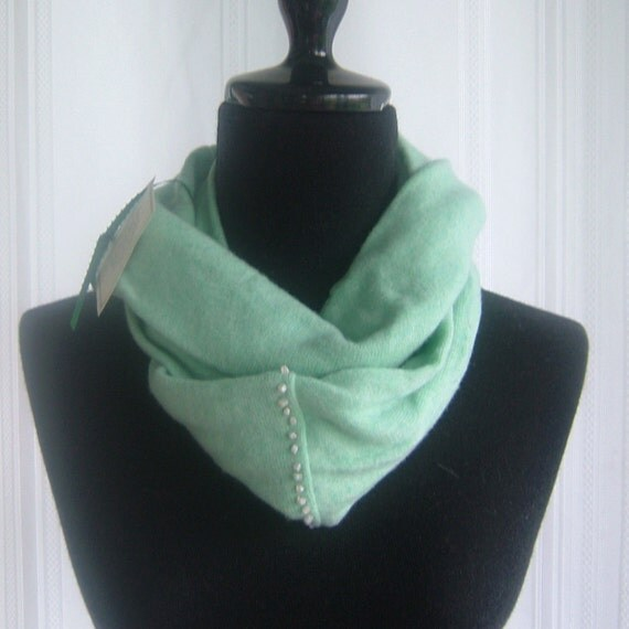 Infinity Cashmere Wool Scarf made from an upcycled soft aqua sweater