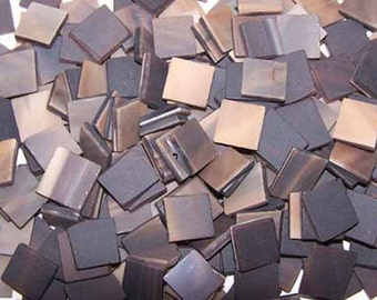 100 1/2 Inch Chocolate Brown Tumbled Stained Glass Mosaic Tiles