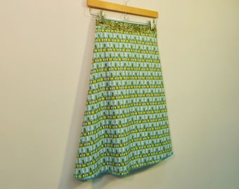 Geometric Print Wrap Skirt, A Line Skirt, Knee Length Skirt, Cotton Skirt, One Size, Multi Size, size S/M