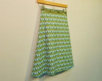 Geometric Print Wrap Skirt, A Line Skirt, Knee Length Skirt, Cotton Skirt, One Size, Multi Size, size S/M