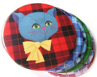 Cat Tartan Plaid Coasters