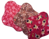 Christmas Fabric Set of three 8 inch panty liners - Christmas Snowflakes, Gingerbread Men and Reindeer