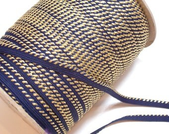 Lip Cord, Vintage Navy Blue and Metallic Gold Lip Cord Trim 1/4 inch wide x 3 yards
