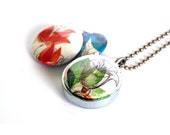 Abstract Floral Locket Necklace - Flower Locket, Romantic, Wedding Jewelry, Silver Steel Magnetic Mom Gift by Polarity