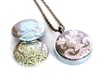 Lace Locket Necklace - Pastel Victorian Locket Silver Steel Metalwork Magnetic Jewelry Mother Grandmother Gift - Eco Friendly by Polarity