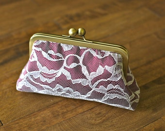 SALE - Burgundy/Wine and Ivory Lace Clutch
