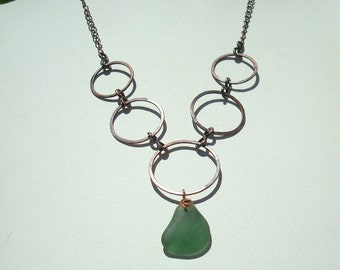 Sea Glass Necklace -Forest Green Seaglass Copper Necklace -Sea Glass Jewelry