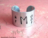 Family Monogram & initials . Cuff Ring . Aluminum Customize Hand Stamped One Size Fits All Band. antiqued metal, brushed silver nickel color