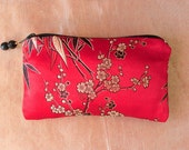 RED BAMBOO and SAKURA Silk Brocade Coin Purse