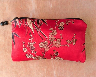 RED BAMBOO and BLOSSOM Silk Brocade Coin Purse