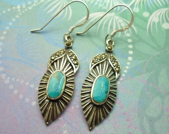 Vintage Sterling Silver Earrings - Turquoise - Style 6