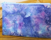 Blue and Lavender Butterfly - Quilted Zipper Cosmetic Case, Phone Case